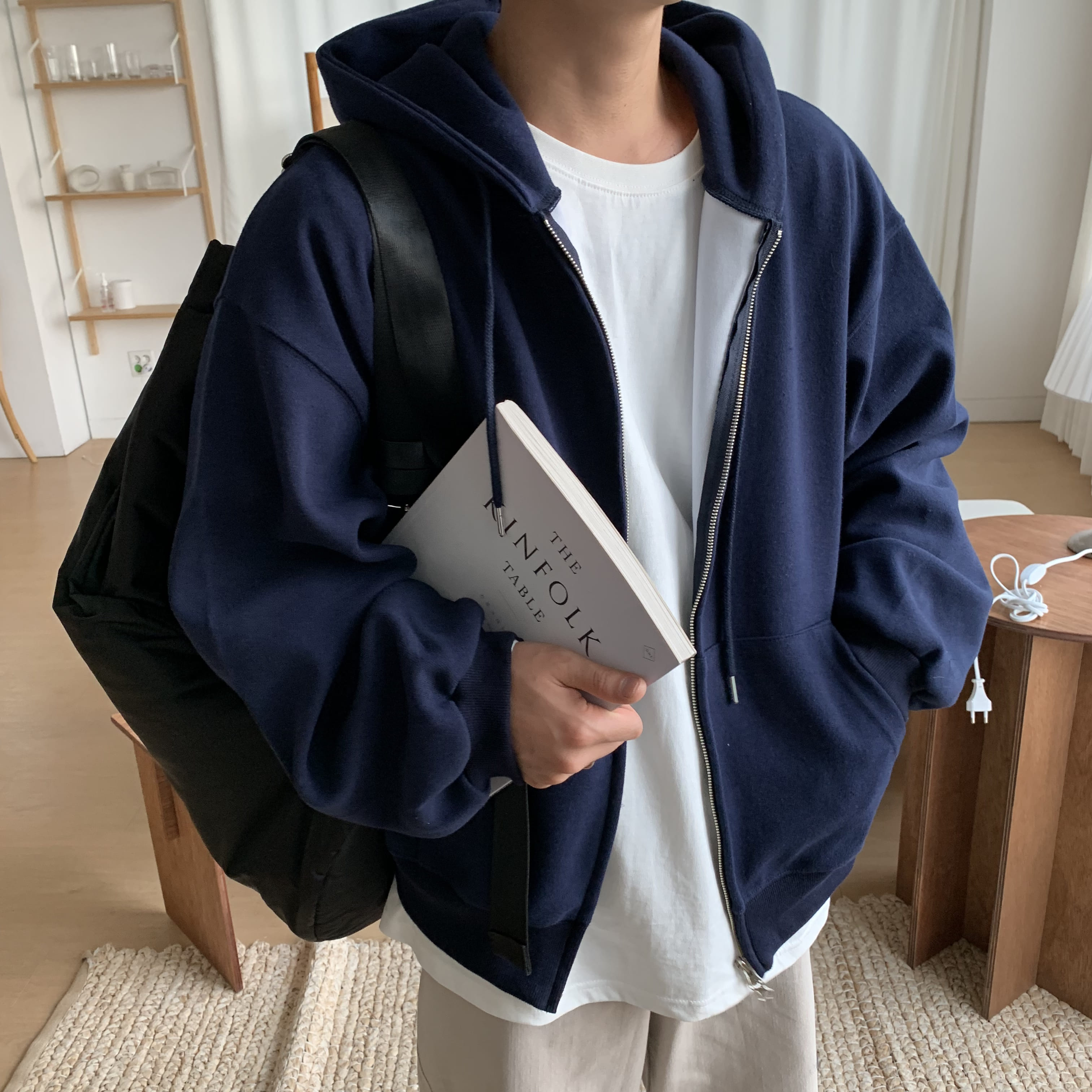Over-fit HUNT Navy Hood Zip-up