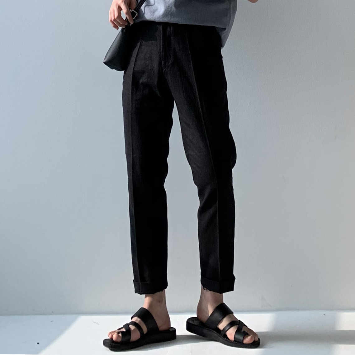 Drop-fit linen black Slacks(벨트포함)