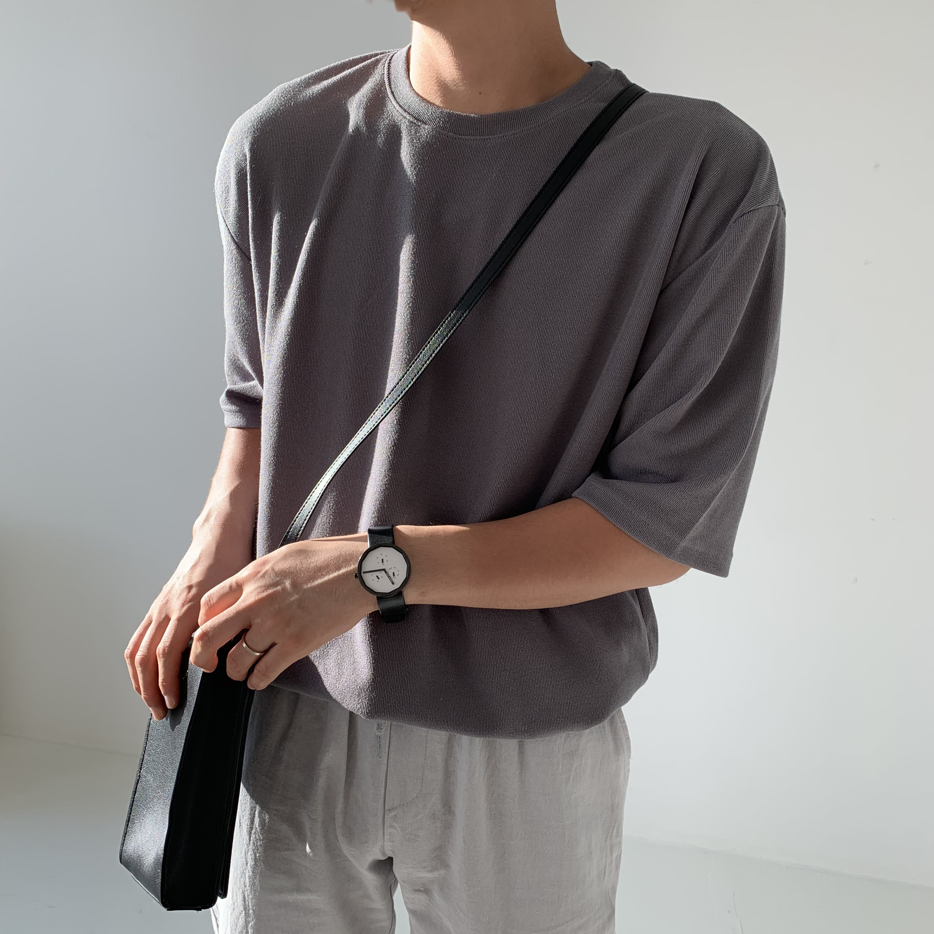 Over-fit Daily ICE 1/2 Knit (brown)