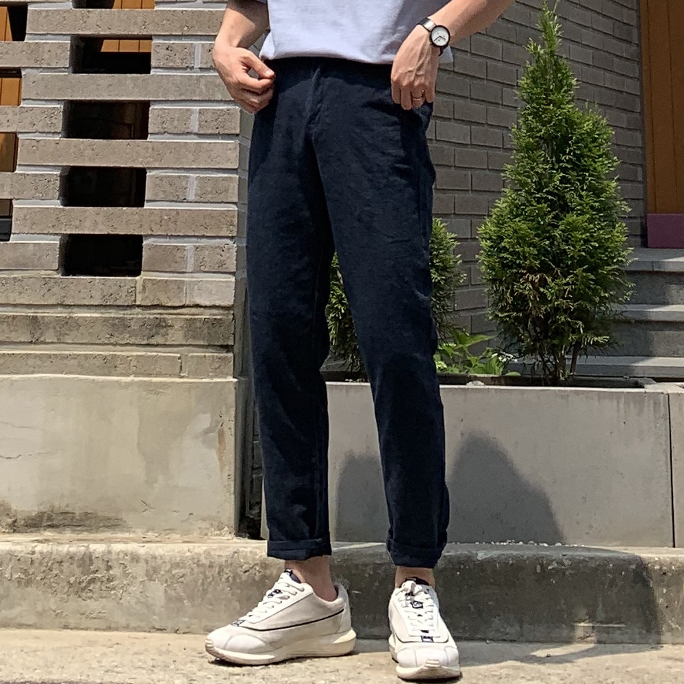Drop-fit ICE Linen Navy Pants